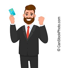 Happy young businessman showing credit, debit, ATM card. Man making raised hand fist gesture. Male character design illustration. Human emotions, facial expressions, feelings concept in vector cartoon
