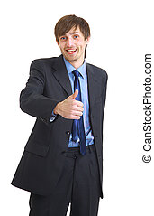 Happy young businessman showing success with thumb up over white background