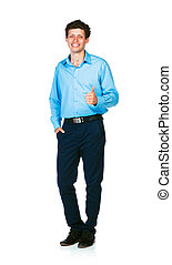Happy young businessman standing with thumb up on white
