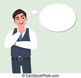 Happy young businessman thinking and looking up to the thought bubble. Person standing with crossed arm. Male character design illustration. Human emotions, facial expression in vector cartoon style.