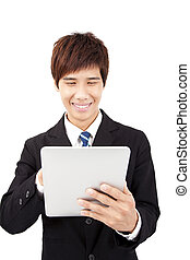 Happy Young businessman With Touchpad Isolated On White background