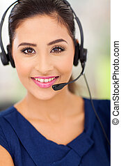 happy young call centre employee - Closeup portrait of a...