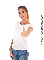 happy young casual woman making the ok sign