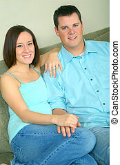 Happy Young Caucasian Couple Smiling