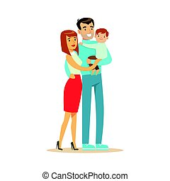 Happy young couple and cute baby boy, father hilding their son colorful characters vector Illustration
