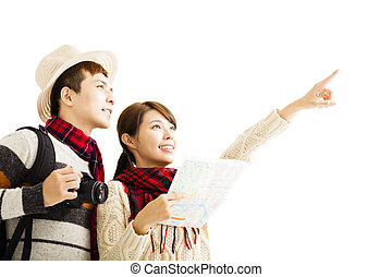 happy young couple enjoy travel with winter wear