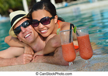 happy young couple have fun on beach - happy young romantic...