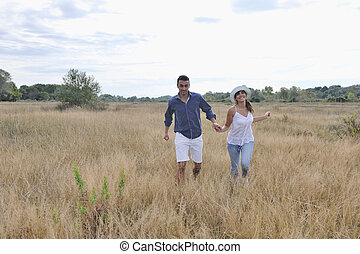 happy young couple have romantic time outdoor