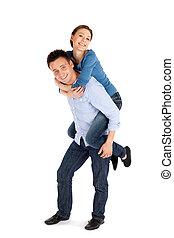 Happy Young Couple Having Fun