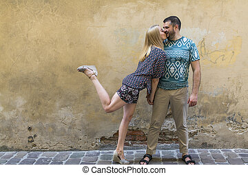 couple in love having fun against