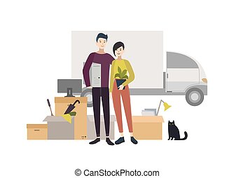 Happy young couple moving into a new house with things. Cartoon illustration in flat style.