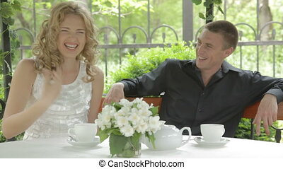 Happy young couple spending time at
