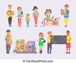 Happy young couple vector flat people moving in new house movement apartment together. Happy young couple moving service. Woman carrying boxes together with family person unpacking box character set