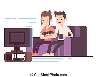 Happy young couple watch TV isolated on white background. Vector illustration