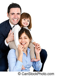Happy young couple with their daughter