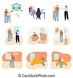 Happy young couples willing to buy house or apartment vector illustration
