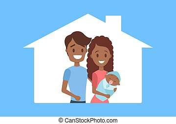Happy young dad and mom holding baby