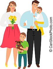 Happy young family. Cartoon parent mother and father,...