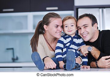 happy young family have fun  at home