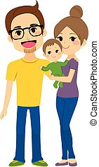 Happy Young Family Holding Baby