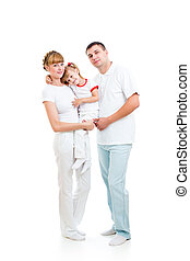 Happy young family isolated on white background