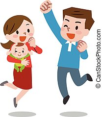 Happy young family. Vector illustration.