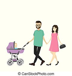 Happy young family with a baby carriage walking