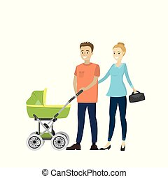 Happy young family with a baby carriage