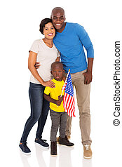 young family with american flag