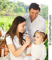 Happy young family with baby girl on a picnic