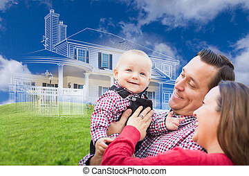 Happy Young Family with Ghosted House Drawing Behind
