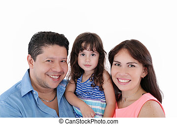 Happy young family with little girl posing on white background