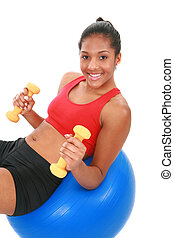 Happy Young Female at Fitness Center - Smiling Young African...