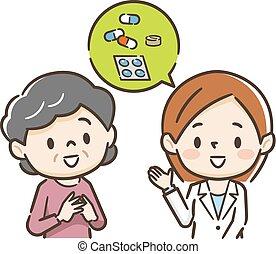 Happy young female pharmacist with senior female customer.