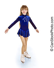 Happy young girl figure skating.Isolated.