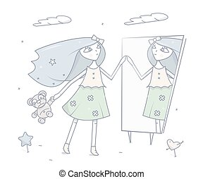 Happy young girl standing in front of a mirror. Cartoon fashion character, vector illustration.