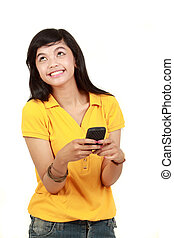 Happy young girl text message