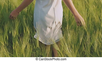 Happy young girl walks in the wheatfield and touches it. Slowly