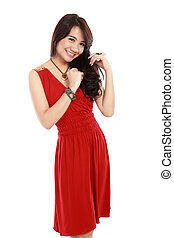 happy young girl wearing red dress