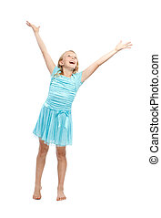 Happy Young Girl in Blue Dress with Arms in the Air - Isolated on White