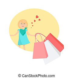 Happy Young Girl with Bags Isolated Illustration