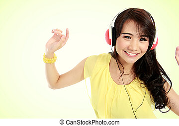 happy Young girl with headphones