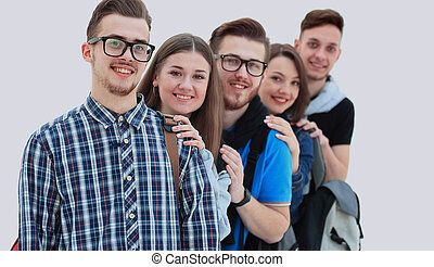 Happy young group of people standing togethe