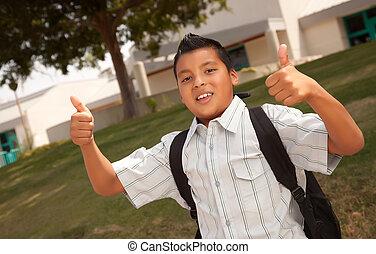 Happy Young Hispanic Boy Ready for School