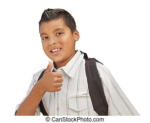 Happy Young Hispanic School Boy with Thumbs Up on White -...
