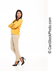 Happy young lady in yellow shirt - Image of happy young lady...