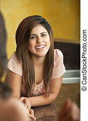 Happy Young Lady - Happy young Hispanic lady smiles with...