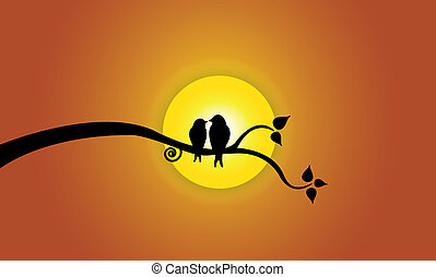Happy Young love birds on tree branch during sunset & orange sky.  Two youthful bird silhouettes sitting on a leafy tree branch against beautiful bright yellow sun ? concept illustration artwork