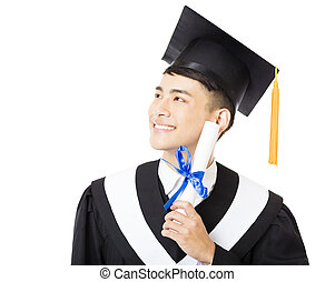 happy young  male college graduate portrait
