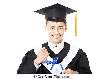 happy young  male college graduate portrait